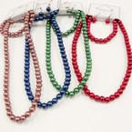"16""-18"" Fall Color Glass Pearl Necklace & Bracelet Set .54 ea"