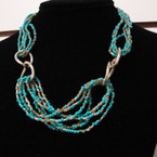 "16"" - 18"" Colorful Seed Bead Fashion Necklace w/ Mini Gold Beads .54 ea"