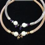 Gold & SIlver Mesh Metal Choker w/ Pearl & Crystal Beads .56 ea
