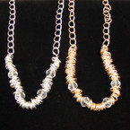 """18"""" Gold & Silver Chain Necklace w/ Rings & Clear Crystal Beads .56 ea"""