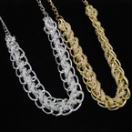 """18"""" Gold & Silver Chain Necklace w/ Inter Wooven Fancy Chain .54 ea"""