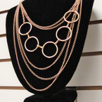"""22"""" Gold & Silver Layer Chain Necklace w/ Lg. Rings .56 ea"""