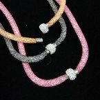"""Popular 16"""" Mesh Magnet Necklace w/ Beads Inside & Crystal Stone Bead .54 ea"""
