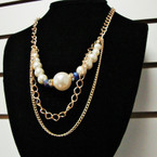 """18"""" Gold & Silver Layer Fashion Necklace w/ Pearls & Crystal Beads .56 ea"""