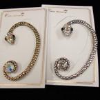 Gold & Silver Snake Look Crystal Ear Cuff .50 ea