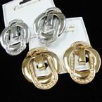 "1.5"" Gold & Silver Belt Buckle Look CLIP ON Earrings w/ Crystals .54 ea"