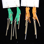 "3"" Colored Chain Fashion Earring w/ Drop Stick Drop .33 ea"