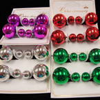 Popular Front & Back Style Metallic Ball Earrings 2 Pairs  .54 per set