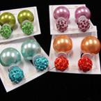 Popular Front & Back Style Color Pearl & Fireball Earrings .54 ea