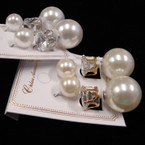 Popular Front & Back Style Pearl Ball & Pring Set Clear Crystal Earrings .54 ea