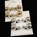 Popular Front & Back StyleGold & Silver Ball Earrings 2 Pairs  .54 per set
