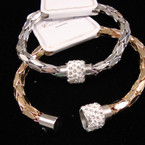 Gold & Silver Magnet Chain Bracelet w/ Crystal Stone Bead .54 ea
