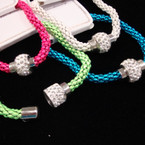9 Asst Color Magnet Chain Bracelet w/ Crystal Stone Bead .54 ea