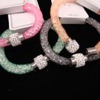 Mesh w/ Clear Bead Magnet Bracelet w/ Crystal Stone Bead .54 ea