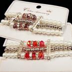 3 Strand Pearl & Bead Bracelet w/ Crystal Stones & Crystal Beads .54 ea