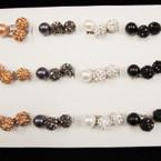 Metallic Mix Pearl & Fireball Crystal Stone Rings 36 per display ONLY .18 ea