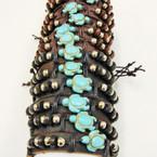Teen Leather Bracelet w/ Silver Beads & Stone Turtle .54 ea