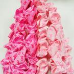 "3"" Pink Ribbon Imprinted Gator Clip Bows 24 per pk ONLY .28 ea"
