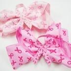 """Big 6"""" Imprinted Pink Ribbon Gator Clip Bows w/ Ribbon Center .56 ea"""