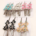 "2 Pack 3"" Metal Salon Hair Clips w/ Colored Stones (8587) .54 per set"