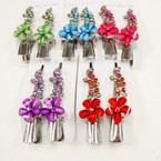 "2 Pack 3"" Metal Salon Hair Clips w/ Colored Stones (8511) .54 per set"