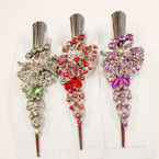 "5"" Metal Salon Hair Clips w/ Colored Stones (8502) .54 ea"