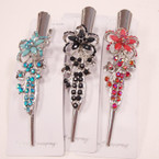 "5"" Metal Salon Hair Clips w/ Colored Stones (8616) .54 ea"