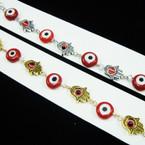 Gold & Silver Hand Link Bracelet w/ Glass Eye Beads .54 ea