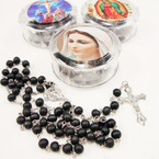 "36"" All Blk Bead Rosary w/ Silver Cross w/ JESUS in Keepstake Box .56 ea"