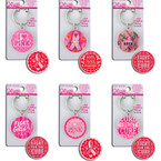 Dbl Sided Embossed Pink Ribbon Theme Keychain 12 per pk ONLY .65 ea