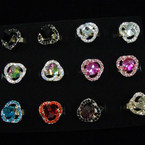 Awesome Crystal Stone Ring w/ Square Glass Center .54 ea