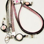 "32"" Pink Ribbon Theme Acrylic Stone Lanyard w/ Retrachable Badge Holder $ 2.25 ea"