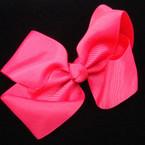 "5"" All Hot Pink Gator Clip Gro Grain Bow .54 ea"