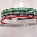 Plastic Mixed Color Headband w/ DBL Line Crystal Stones .52 ea