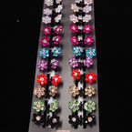 DBL Crystal Flower Mini Hair Clip  24 per pack Mixed Colors .26 ea pc