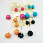 """2.5"""" Gold Wire Loop Earring w/ Colored Balls & Mini Crystals .52 ea"""