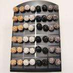 8MM Metallic COlor Fire Ball Crystal Ball Earrings 24 pair display .50 ea pr