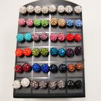 8MM Mixed Color Fire Ball Crystal Ball Earrings 24 pair display .50 ea pr