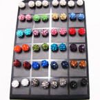 5MM Mixed Color Fire Ball Crystal Ball Earrings 24 pair display .45 ea pr