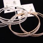 """2.75"""" Wide GOld/Silver Triple Hoop Earrings w/ SIlver Metallic Center .52 ea set"""