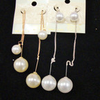"4"" Gold & Silver Threader Style Earring w/ Pearls .52 ea"