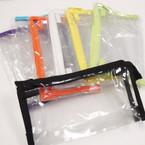 """4.25"""" X 8"""" PVC See Thru Zipper Cosmetic Bag Mixed Colors .56 ea"""