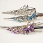 "5"" Silver Salon Clip w/ Acrylic Stones Asst Colors (75) .54 ea"