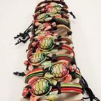 Teen Leather Bracelet Rasta Color Cord & Rasta Color Turtle .54 ea
