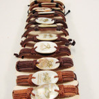 Teen Leather Bracelet Oval Shell w/ Gold Zodiac Signs .54 ea