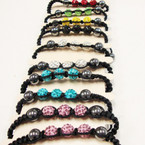 Macrame Bracelet w/ Hematite & Fire Ball Crystal Stone Beads .56 each