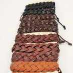4 Color Teen Leather Bracelet Braided Style .54 ea