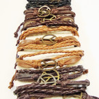 Multi Line Leather Bracelet w/ Mixed Style Gold Peace Signs Only .54 ea