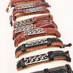 Teen Leather Bracelet Silver Plaque w/ Turtles .54 ea