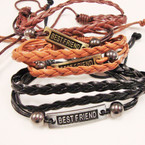 Multi Line Leather Bracelet w/ Best Friend Gold & Silver Plaques .54 ea